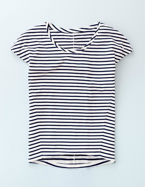 Supersoft Seam Tee Ivory/Navy Women, Ivory/Navy - neckline: round neck; pattern: horizontal stripes; style: t-shirt; secondary colour: white; predominant colour: navy; occasions: casual; length: standard; fibres: cotton - 100%; fit: body skimming; sleeve length: short sleeve; sleeve style: standard; pattern type: fabric; texture group: jersey - stretchy/drapey; season: a/w 2015; wardrobe: basic
