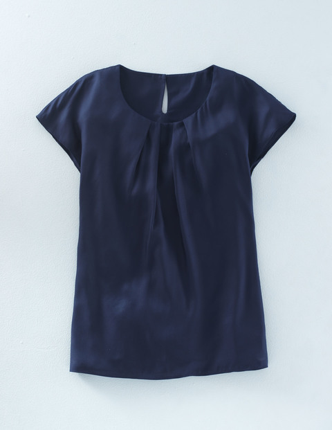 Long Line Ravello Top Navy Women, Navy - sleeve style: capped; pattern: plain; predominant colour: navy; occasions: casual; length: standard; style: top; fit: body skimming; neckline: crew; back detail: keyhole/peephole detail at back; sleeve length: short sleeve; pattern type: fabric; texture group: other - light to midweight; fibres: viscose/rayon - mix; season: a/w 2015