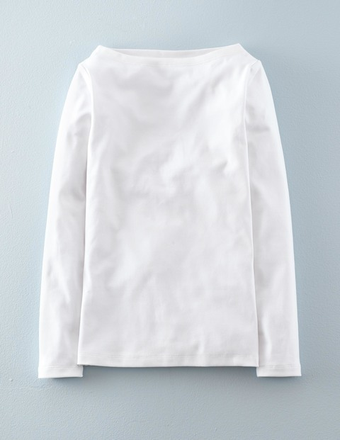 Essential Boatneck White Women, White - neckline: slash/boat neckline; pattern: plain; predominant colour: white; occasions: casual; length: standard; style: top; fibres: cotton - 100%; fit: body skimming; sleeve length: long sleeve; sleeve style: standard; pattern type: fabric; texture group: jersey - stretchy/drapey; season: a/w 2015; wardrobe: basic
