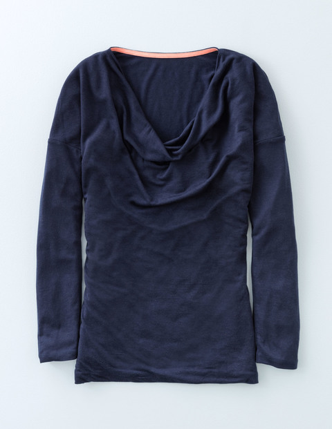 Drop Shoulder Cowl Neck Navy Women, Navy - neckline: cowl/draped neck; pattern: plain; style: t-shirt; predominant colour: navy; occasions: casual; length: standard; fibres: cotton - stretch; fit: body skimming; sleeve length: long sleeve; sleeve style: standard; texture group: jersey - clingy; pattern type: fabric; season: a/w 2015; wardrobe: basic