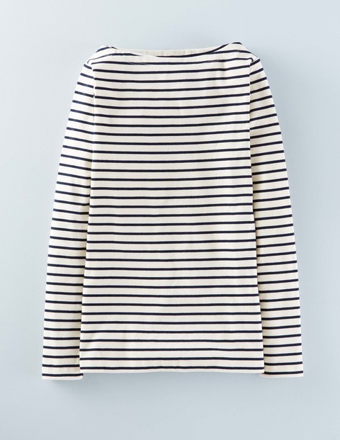 Essential Boatneck Ivory/Navy Women, Ivory/Navy - neckline: slash/boat neckline; pattern: horizontal stripes; style: t-shirt; predominant colour: navy; secondary colour: navy; occasions: casual; length: standard; fibres: cotton - stretch; fit: body skimming; sleeve length: long sleeve; sleeve style: standard; texture group: jersey - clingy; pattern type: fabric; season: a/w 2015