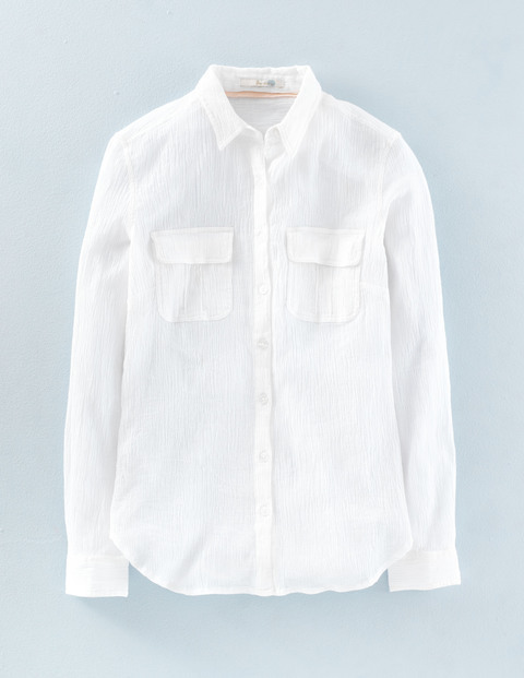 Crinkle Cotton Shirt White Women, White - neckline: shirt collar/peter pan/zip with opening; pattern: plain; style: shirt; bust detail: pocket detail at bust; predominant colour: white; occasions: casual; length: standard; fibres: cotton - 100%; fit: body skimming; sleeve length: long sleeve; sleeve style: standard; texture group: cotton feel fabrics; pattern type: fabric; season: a/w 2015