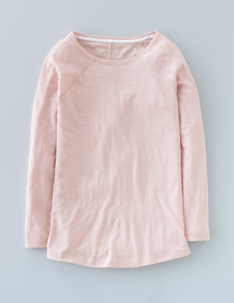 Long Lightweight Baseball Tee Pink Pearl Women, Pink Pearl - neckline: round neck; sleeve style: raglan; pattern: plain; style: t-shirt; predominant colour: blush; occasions: casual, creative work; length: standard; fibres: cotton - 100%; fit: body skimming; sleeve length: long sleeve; pattern type: fabric; texture group: jersey - stretchy/drapey; season: a/w 2015; wardrobe: basic