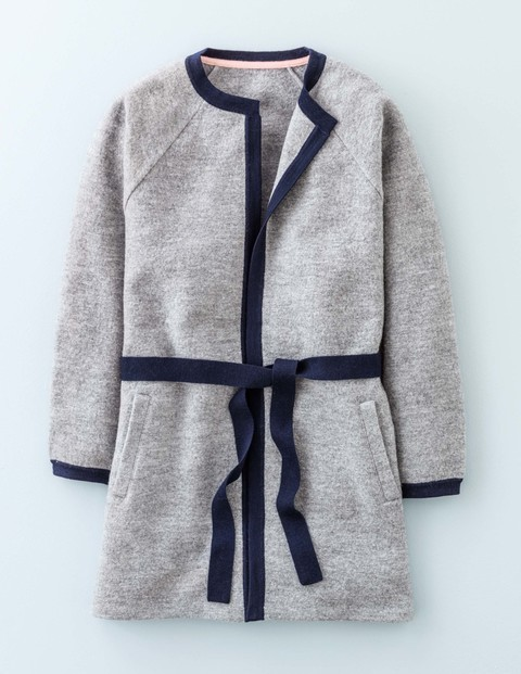 Isabella Belted Cardigan Mid Grey/Navy Women, Mid Grey/Navy - neckline: collarless open; secondary colour: navy; predominant colour: light grey; occasions: casual; style: standard; fibres: wool - 100%; fit: standard fit; length: mid thigh; waist detail: belted waist/tie at waist/drawstring; sleeve length: long sleeve; sleeve style: standard; texture group: knits/crochet; pattern type: fabric; pattern size: standard; pattern: colourblock; season: a/w 2015; wardrobe: highlight