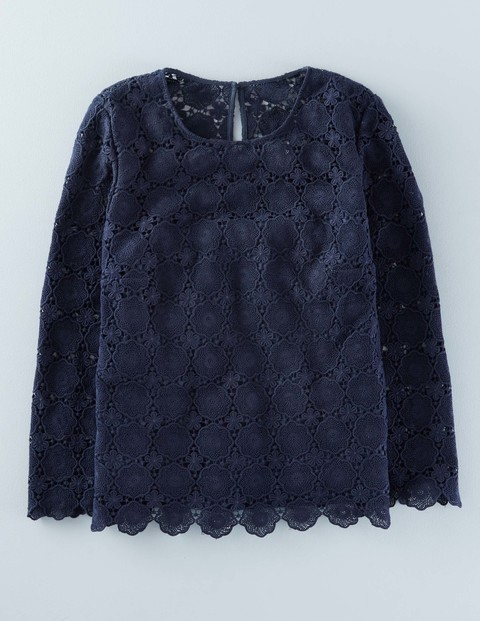 Floral Lace Top Navy Women, Navy - predominant colour: navy; occasions: casual; length: standard; style: top; fibres: cotton - 100%; fit: body skimming; neckline: crew; sleeve length: long sleeve; sleeve style: standard; texture group: lace; pattern type: fabric; pattern: patterned/print; embellishment: lace; season: a/w 2015; wardrobe: highlight