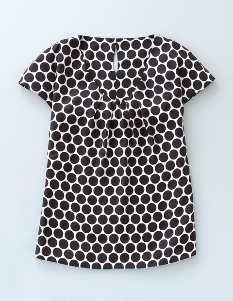 Long Line Ravello Top Black Simple Spot Women, Black Simple Spot - neckline: v-neck; pattern: polka dot; secondary colour: white; predominant colour: black; occasions: casual; length: standard; style: top; fibres: silk - mix; fit: body skimming; sleeve length: short sleeve; sleeve style: standard; trends: monochrome; texture group: structured shiny - satin/tafetta/silk etc.; pattern type: fabric; season: a/w 2015; wardrobe: highlight