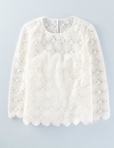 Floral Lace Top Ivory Women, Ivory - neckline: round neck; predominant colour: white; occasions: casual, creative work; length: standard; style: top; fibres: cotton - 100%; fit: body skimming; sleeve length: 3/4 length; sleeve style: standard; texture group: lace; pattern type: fabric; pattern: patterned/print; embellishment: lace; season: a/w 2015; wardrobe: highlight