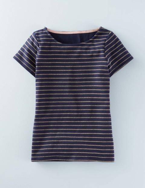 Short Sleeve Sparkle Breton Navy/Gold Sparkle Stripe Women, Navy/Gold Sparkle Stripe - neckline: round neck; pattern: horizontal stripes; predominant colour: navy; secondary colour: gold; occasions: casual; length: standard; style: top; fibres: cotton - mix; fit: body skimming; sleeve length: short sleeve; sleeve style: standard; pattern type: fabric; texture group: jersey - stretchy/drapey; season: a/w 2015; wardrobe: highlight