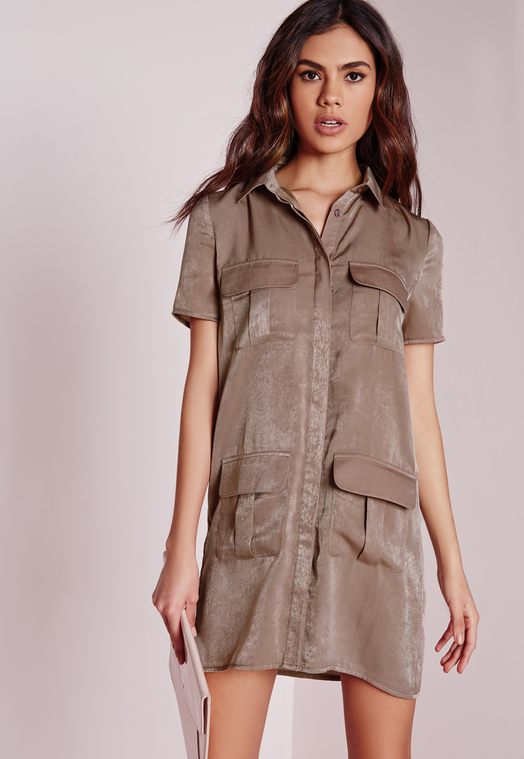 Petite Slinky Pocket Detail Shirt Dress, Brown - style: shirt; length: mid thigh; neckline: shirt collar/peter pan/zip with opening; pattern: plain; predominant colour: taupe; occasions: casual, creative work; fit: straight cut; fibres: polyester/polyamide - stretch; sleeve length: short sleeve; sleeve style: standard; pattern type: fabric; texture group: other - light to midweight; season: a/w 2015; wardrobe: basic