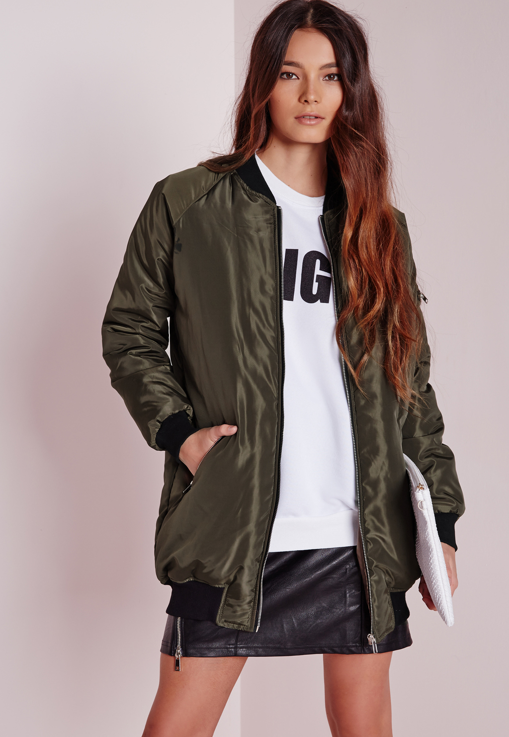 Longline Padded Bomber Jacket Khaki, Beige - pattern: plain; length: below the bottom; collar: round collar/collarless; predominant colour: khaki; occasions: casual; fit: straight cut (boxy); fibres: polyester/polyamide - 100%; hip detail: subtle/flattering hip detail; sleeve length: long sleeve; sleeve style: standard; collar break: low/open; pattern type: fabric; texture group: other - bulky/heavy; style: puffa; season: a/w 2015; wardrobe: basic