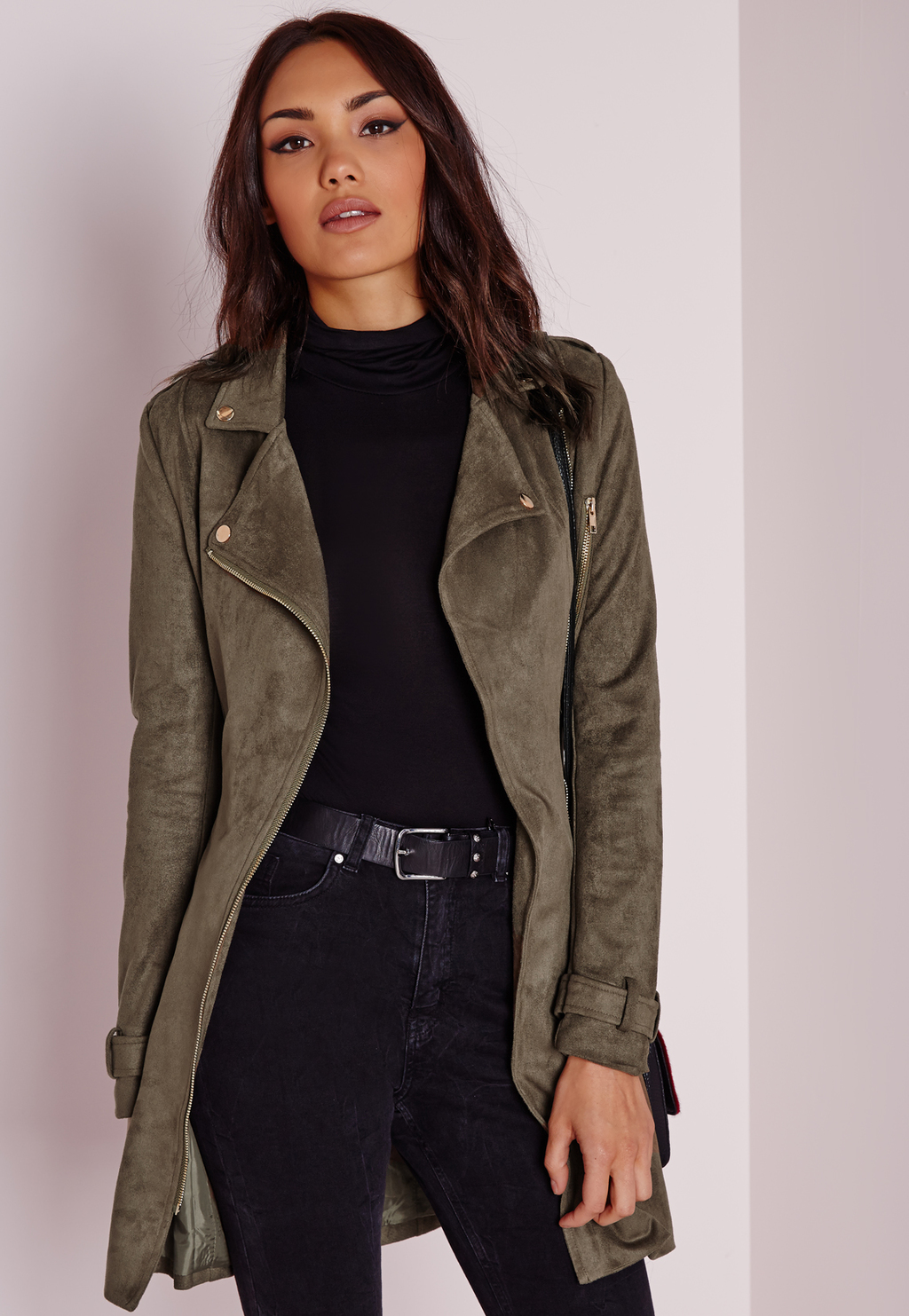 Longline Zazula Suede Biker Jacket Khaki, Beige - pattern: plain; style: biker; collar: asymmetric biker; predominant colour: khaki; occasions: casual, creative work; fit: tailored/fitted; length: mid thigh; sleeve length: long sleeve; sleeve style: standard; collar break: low/open; pattern type: fabric; texture group: suede; fibres: nylon - stretch; season: a/w 2015; wardrobe: basic