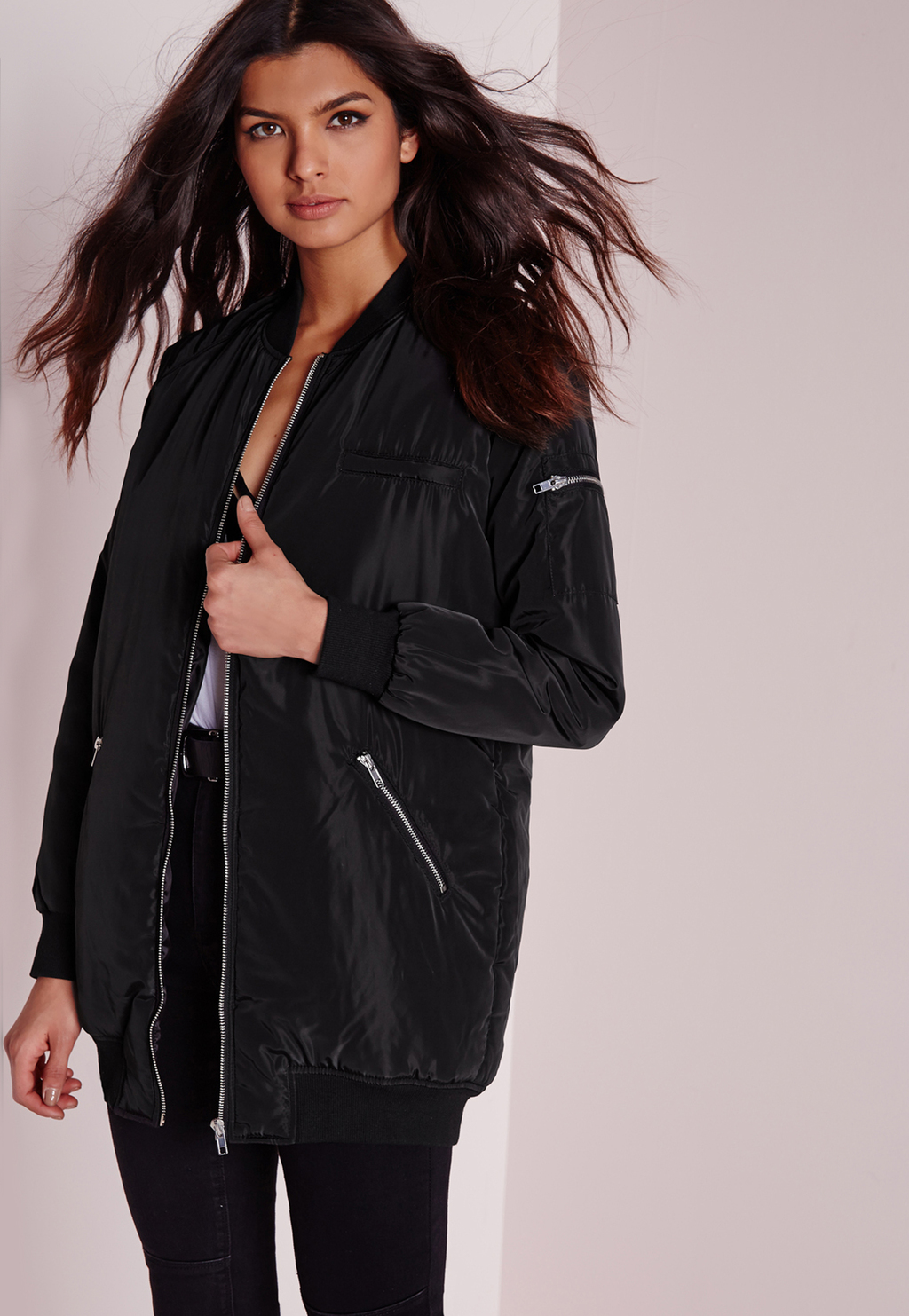 Longline Padded Bomber Jacket Black, Black - pattern: plain; style: bomber; predominant colour: black; occasions: casual; fit: straight cut (boxy); fibres: polyester/polyamide - 100%; length: mid thigh; collar: shirt collar/peter pan/zip with opening; sleeve length: long sleeve; sleeve style: standard; collar break: high/illusion of break when open; pattern type: fabric; texture group: woven light midweight; season: a/w 2015