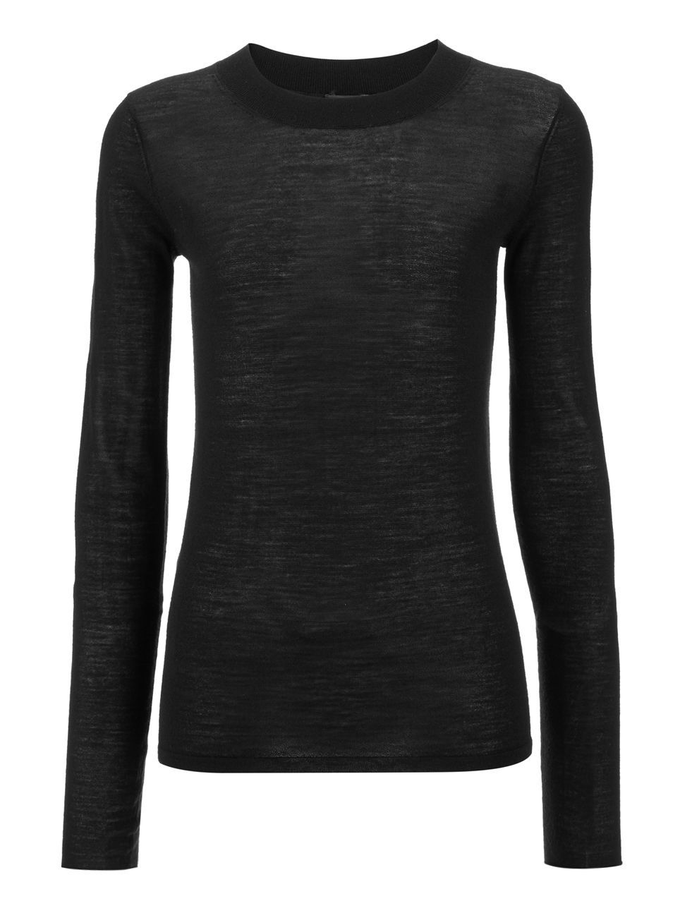 Transparent Knit Top In Black - neckline: round neck; pattern: plain; style: standard; predominant colour: black; occasions: casual, work, creative work; length: standard; fibres: wool - mix; fit: standard fit; sleeve length: long sleeve; sleeve style: standard; texture group: knits/crochet; pattern type: knitted - fine stitch; season: a/w 2015; wardrobe: basic
