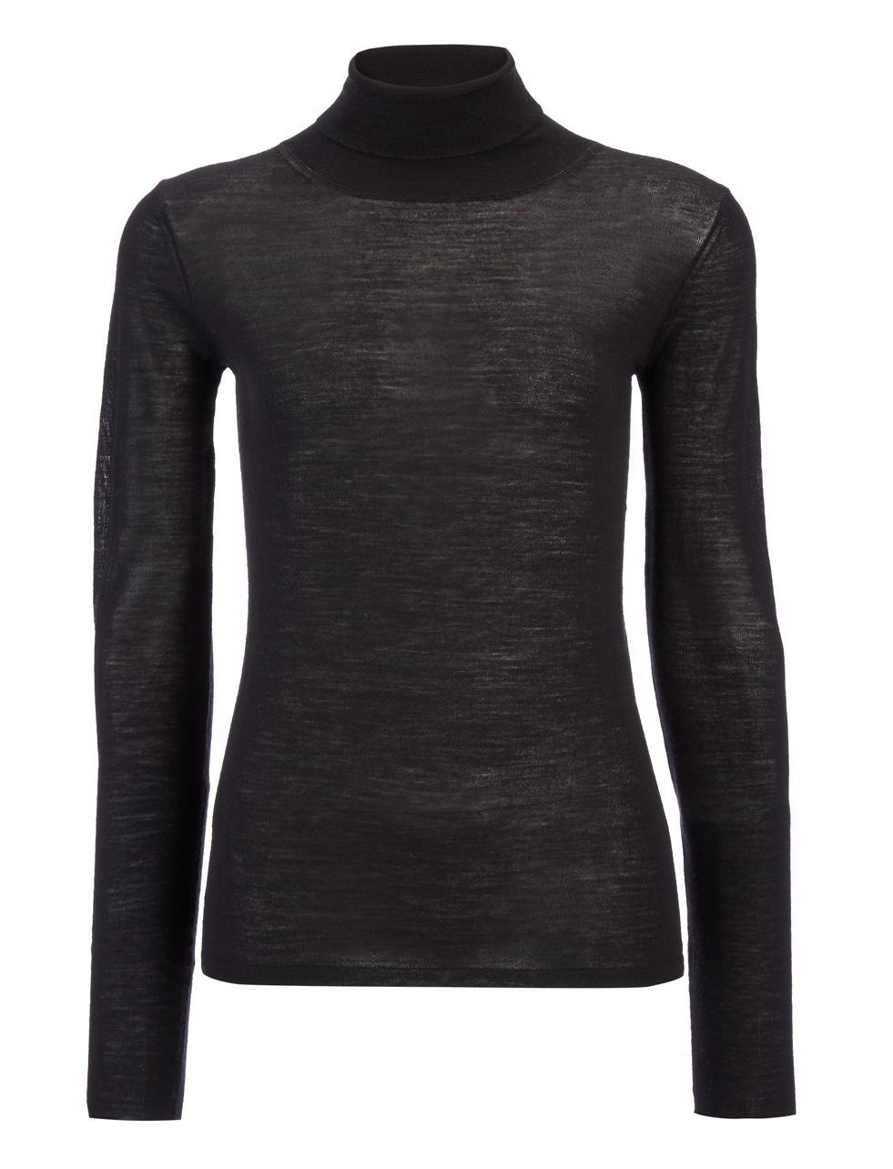 Transparent Roll Neck Knit In Black - pattern: plain; neckline: roll neck; predominant colour: black; occasions: casual; length: standard; style: top; fibres: wool - 100%; fit: body skimming; sleeve length: long sleeve; sleeve style: standard; texture group: knits/crochet; pattern type: fabric; season: a/w 2015; wardrobe: basic