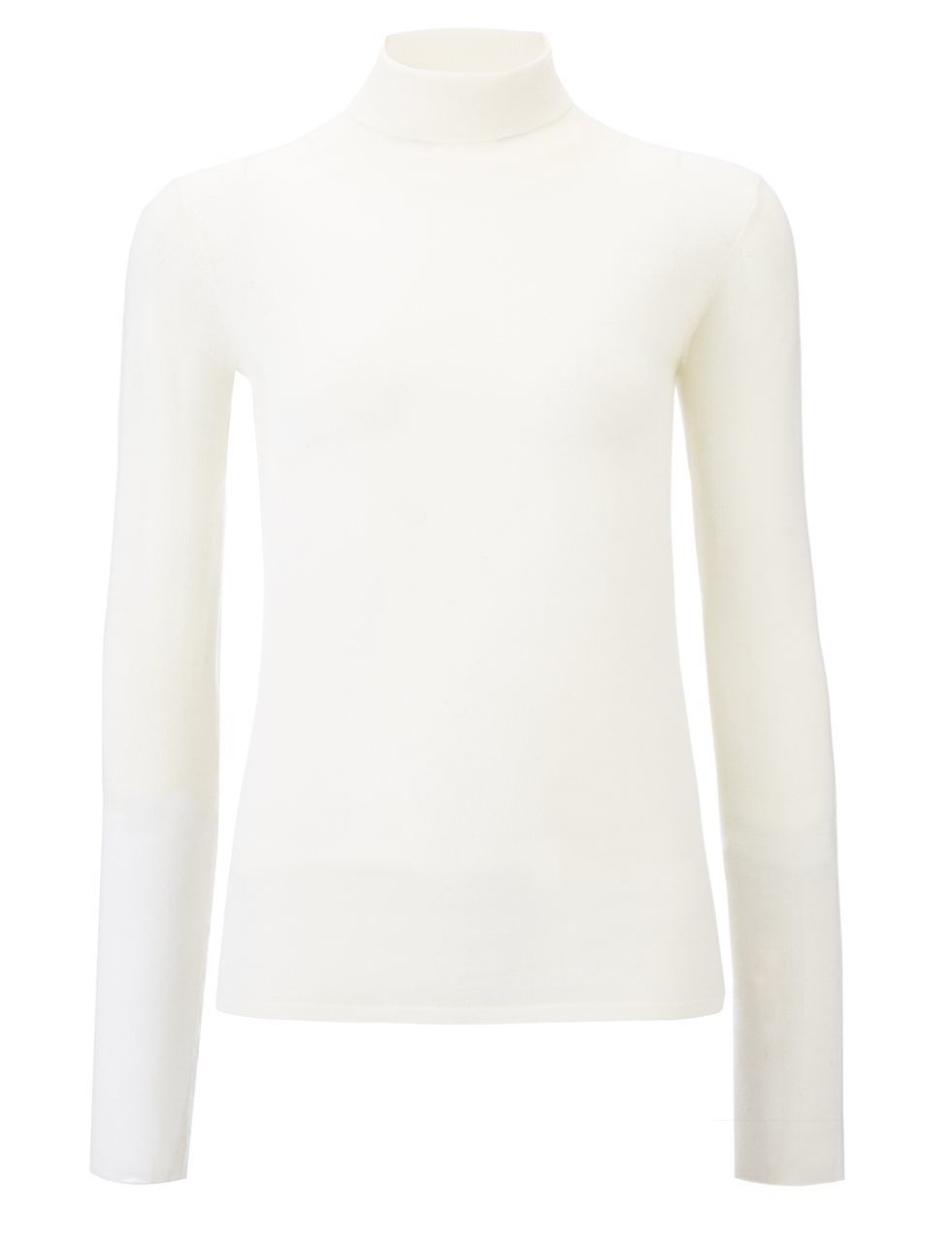 Transparent Roll Neck Knit In Ecru - pattern: plain; neckline: roll neck; predominant colour: ivory/cream; occasions: casual; length: standard; style: top; fibres: wool - 100%; fit: body skimming; sleeve length: long sleeve; sleeve style: standard; texture group: knits/crochet; pattern type: fabric; season: a/w 2015; wardrobe: basic