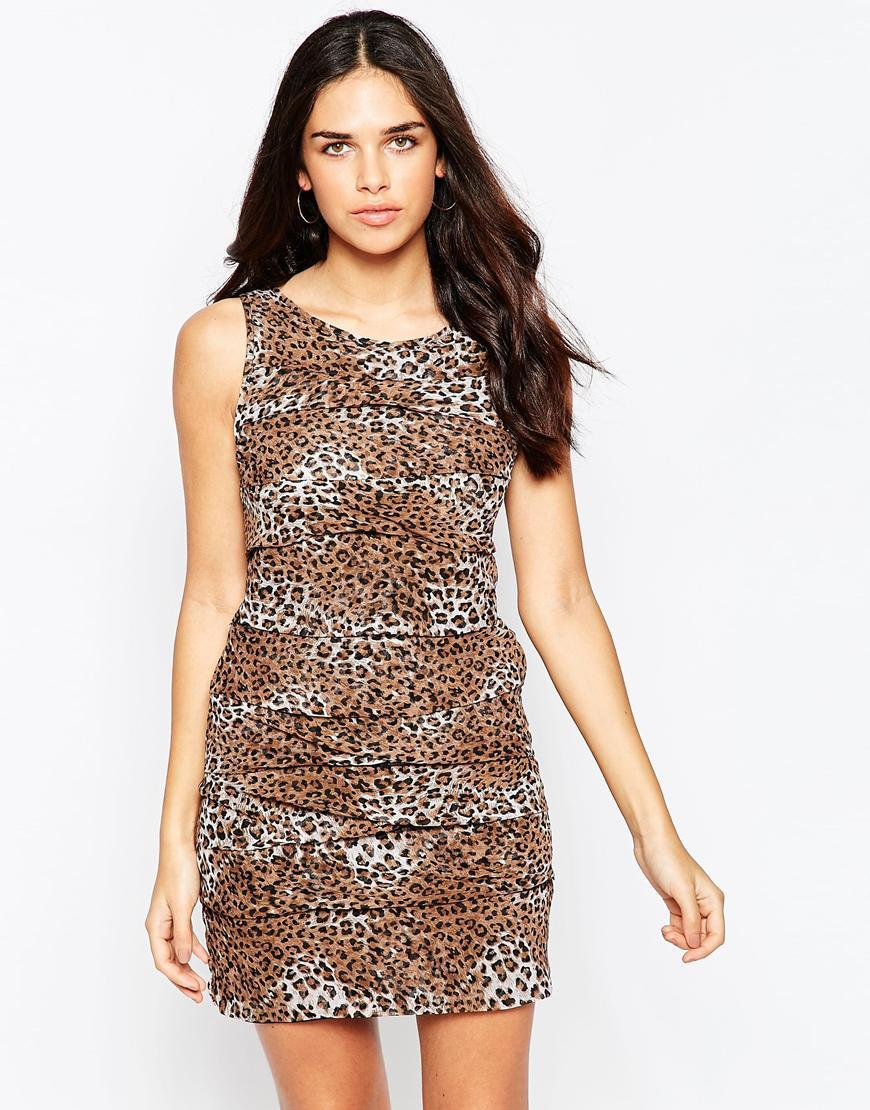 Leopard Print Tiered Dress Brown - style: shift; length: mini; neckline: round neck; sleeve style: sleeveless; predominant colour: tan; occasions: evening; fit: body skimming; fibres: polyester/polyamide - 100%; sleeve length: sleeveless; texture group: crepes; pattern type: fabric; pattern size: light/subtle; pattern: animal print; season: a/w 2015; wardrobe: event