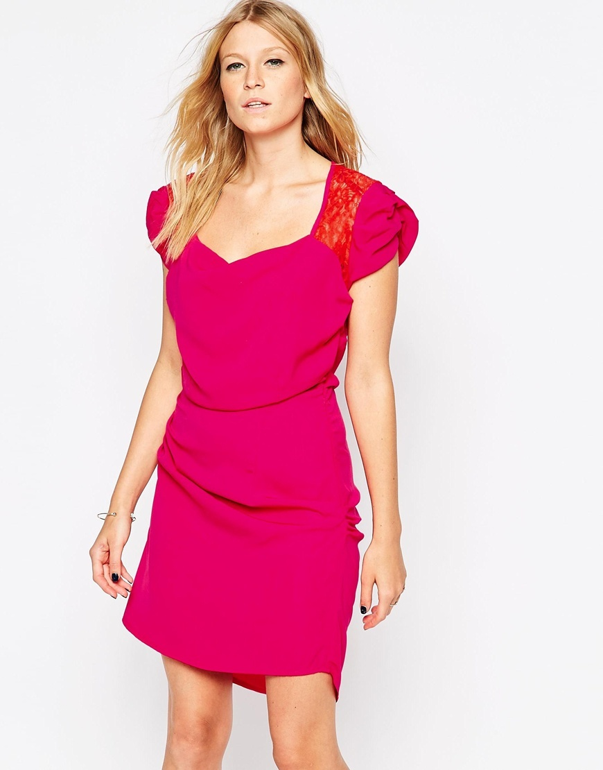 Mini Dress With Lace Back Detail Pink - style: shift; length: mid thigh; pattern: plain; neckline: sweetheart; predominant colour: hot pink; secondary colour: bright orange; occasions: evening, occasion; fit: body skimming; fibres: polyester/polyamide - 100%; hip detail: adds bulk at the hips; sleeve length: short sleeve; sleeve style: standard; texture group: lace; pattern type: fabric; season: a/w 2015; wardrobe: event; embellishment: contrast fabric; embellishment location: shoulder