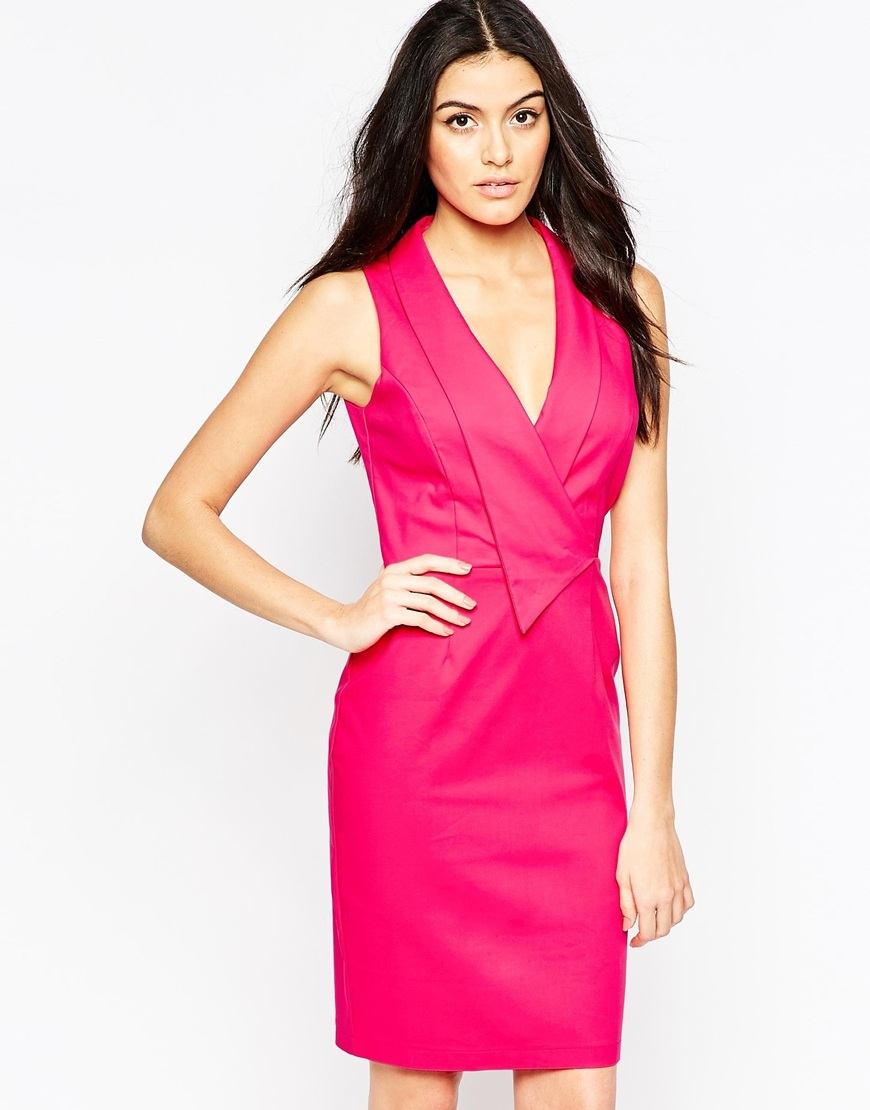 Origami Pleat Midi Dress Pink - style: faux wrap/wrap; neckline: low v-neck; fit: tailored/fitted; pattern: plain; sleeve style: sleeveless; predominant colour: hot pink; occasions: evening, occasion; length: just above the knee; fibres: polyester/polyamide - 100%; sleeve length: sleeveless; texture group: structured shiny - satin/tafetta/silk etc.; bust detail: bulky details at bust; pattern type: fabric; season: a/w 2015; wardrobe: event