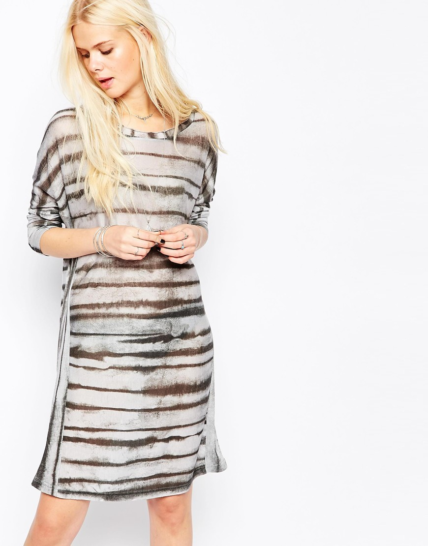 Vanish Stripe Long Sleeve Dress Grey/Black - style: tunic; length: mid thigh; neckline: round neck; sleeve style: dolman/batwing; pattern: horizontal stripes; predominant colour: light grey; secondary colour: black; occasions: casual; fit: straight cut; fibres: polyester/polyamide - mix; sleeve length: 3/4 length; pattern type: fabric; pattern size: standard; texture group: woven light midweight; season: a/w 2015; wardrobe: basic
