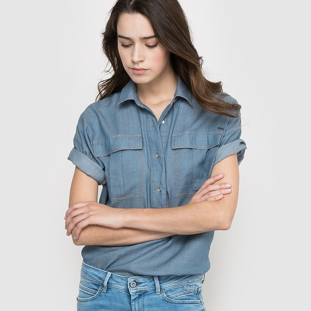 Short Sleeved Shirt - neckline: shirt collar/peter pan/zip with opening; pattern: plain; style: shirt; predominant colour: denim; occasions: casual; length: standard; fibres: cotton - 100%; fit: loose; sleeve length: short sleeve; sleeve style: standard; texture group: cotton feel fabrics; bust detail: bulky details at bust; pattern type: fabric; season: a/w 2015; wardrobe: highlight