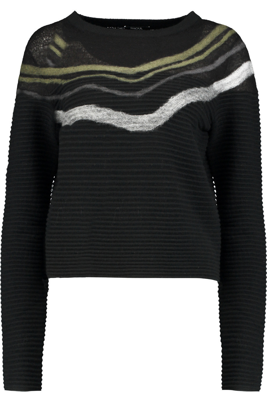 Intarsia Knit Sweater Black - neckline: slash/boat neckline; pattern: horizontal stripes; style: standard; secondary colour: khaki; predominant colour: black; occasions: casual; length: standard; fibres: nylon - mix; fit: standard fit; sleeve length: long sleeve; sleeve style: standard; texture group: knits/crochet; pattern type: knitted - fine stitch; pattern size: light/subtle; season: a/w 2015