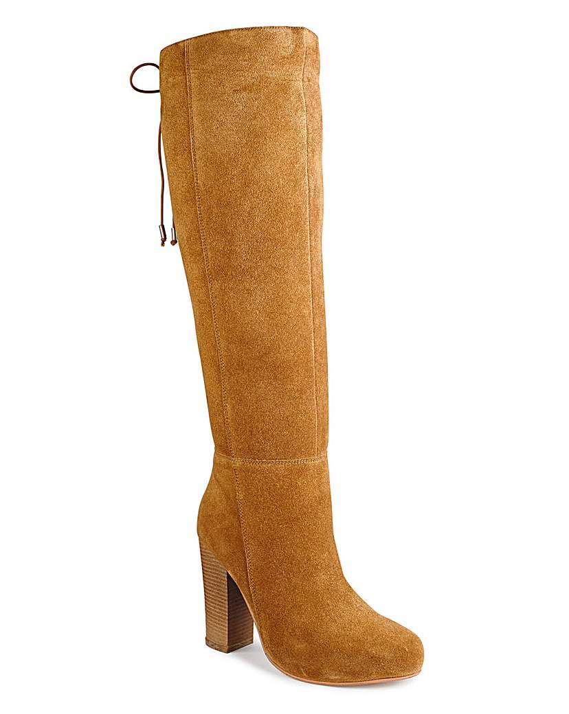 Sole Diva Lace Up Boots E Fit - predominant colour: camel; occasions: casual, creative work; material: suede; heel height: high; heel: block; toe: round toe; boot length: knee; style: standard; finish: plain; pattern: plain; season: a/w 2015; wardrobe: investment