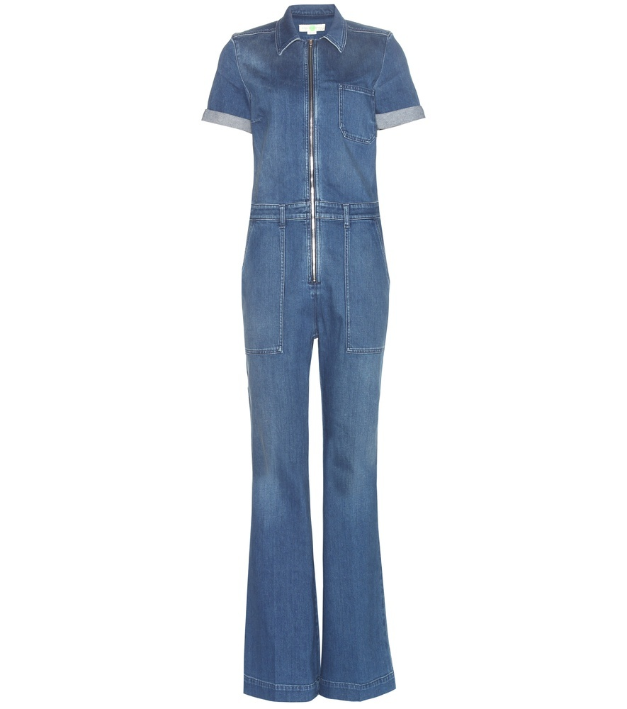Denim Jumpsuit - length: standard; neckline: shirt collar/peter pan/zip with opening; fit: tailored/fitted; pattern: plain; predominant colour: denim; occasions: casual, creative work; fibres: cotton - stretch; sleeve length: short sleeve; sleeve style: standard; texture group: denim; style: jumpsuit; pattern type: fabric; season: a/w 2015; wardrobe: highlight