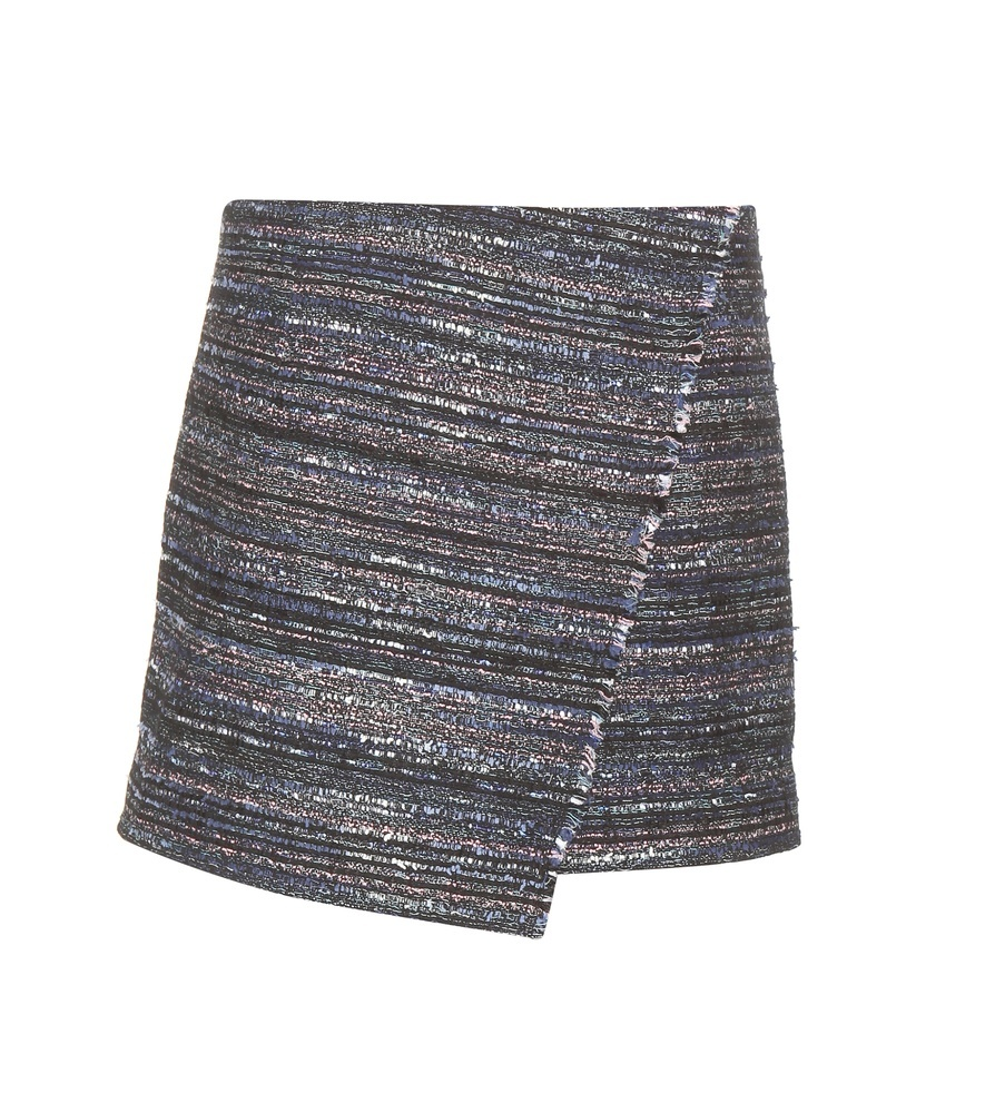 Austyn Tweed Miniskirt - length: mini; hip detail: draws attention to hips; waist: mid/regular rise; predominant colour: silver; occasions: evening; style: mini skirt; fibres: cotton - mix; fit: straight cut; pattern type: fabric; texture group: tweed - light/midweight; pattern: horizontal stripes (bottom); season: a/w 2015; wardrobe: event