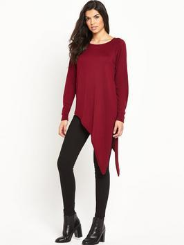 Asymmetric Drape Jumper - neckline: round neck; pattern: plain; length: below the bottom; style: tunic; predominant colour: burgundy; occasions: casual, creative work; fibres: acrylic - mix; fit: loose; sleeve length: long sleeve; sleeve style: standard; texture group: knits/crochet; pattern type: knitted - fine stitch; season: s/s 2016