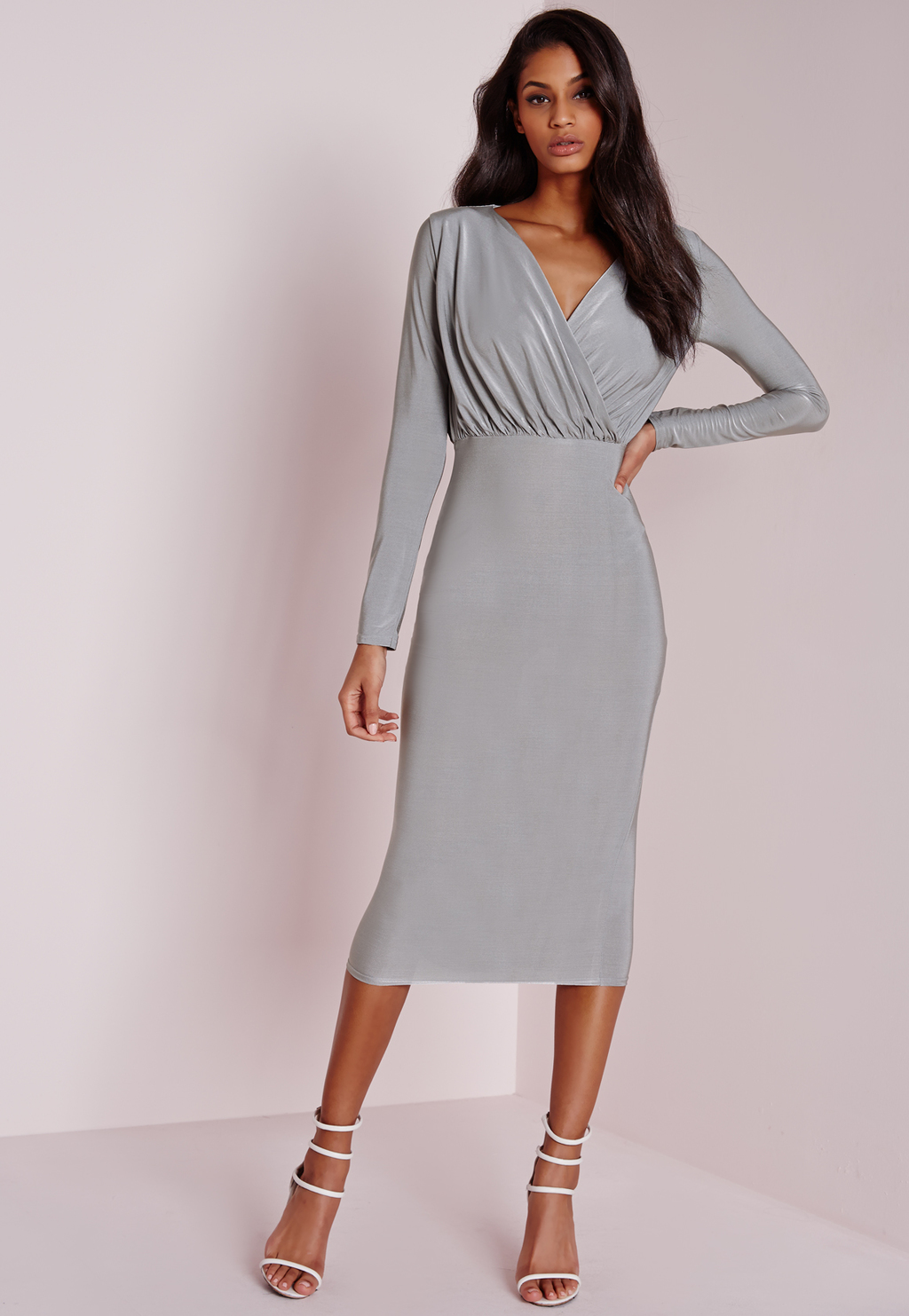 Slinky Wrap Midi Dress Grey, Grey - length: below the knee; neckline: low v-neck; fit: tight; pattern: plain; style: bodycon; predominant colour: light grey; occasions: evening; fibres: polyester/polyamide - stretch; sleeve length: long sleeve; sleeve style: standard; texture group: jersey - clingy; pattern type: fabric; season: a/w 2015; wardrobe: event