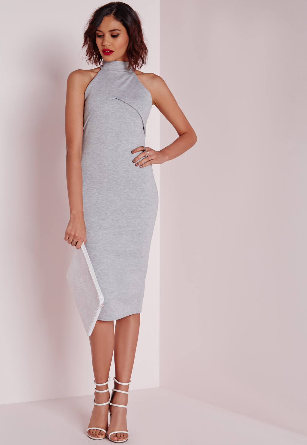 High Neck Midi Dress Grey, Grey - length: below the knee; fit: tight; pattern: plain; sleeve style: sleeveless; neckline: high neck; style: bodycon; predominant colour: light grey; occasions: evening; fibres: polyester/polyamide - stretch; sleeve length: sleeveless; texture group: jersey - clingy; pattern type: fabric; season: a/w 2015