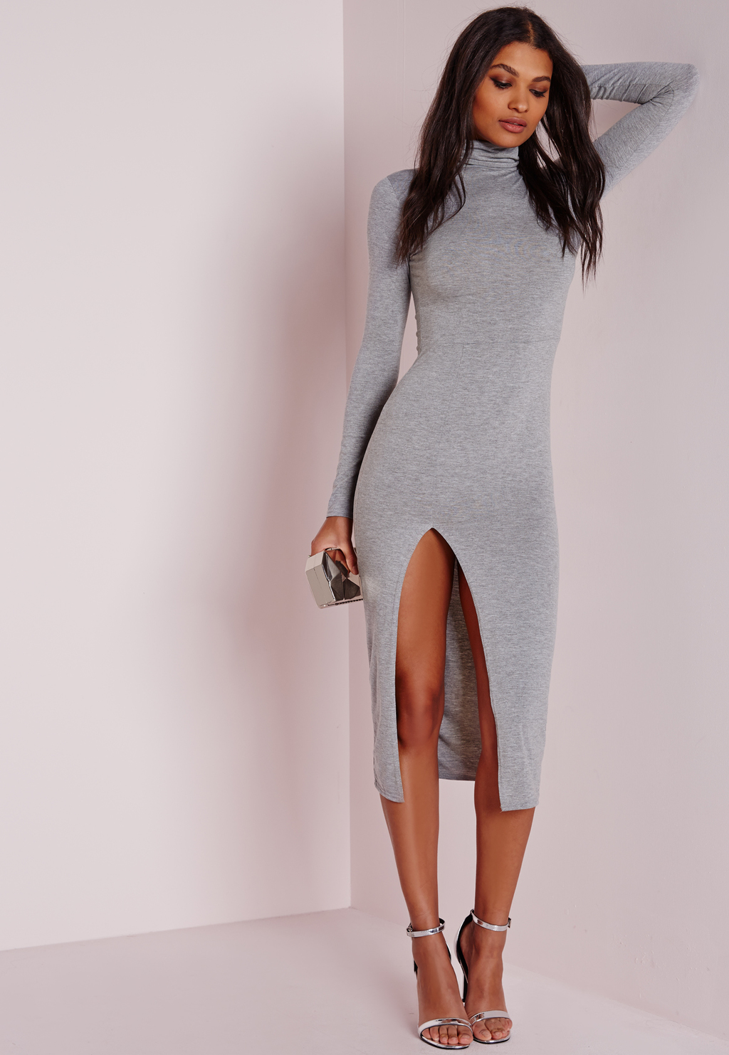 Jersey High Neck Extreme Split Midi Dress Grey, Grey - length: below the knee; fit: tight; pattern: plain; neckline: high neck; style: bodycon; predominant colour: light grey; occasions: evening; fibres: viscose/rayon - stretch; hip detail: slits at hip; sleeve length: long sleeve; sleeve style: standard; texture group: jersey - clingy; pattern type: fabric; season: a/w 2015