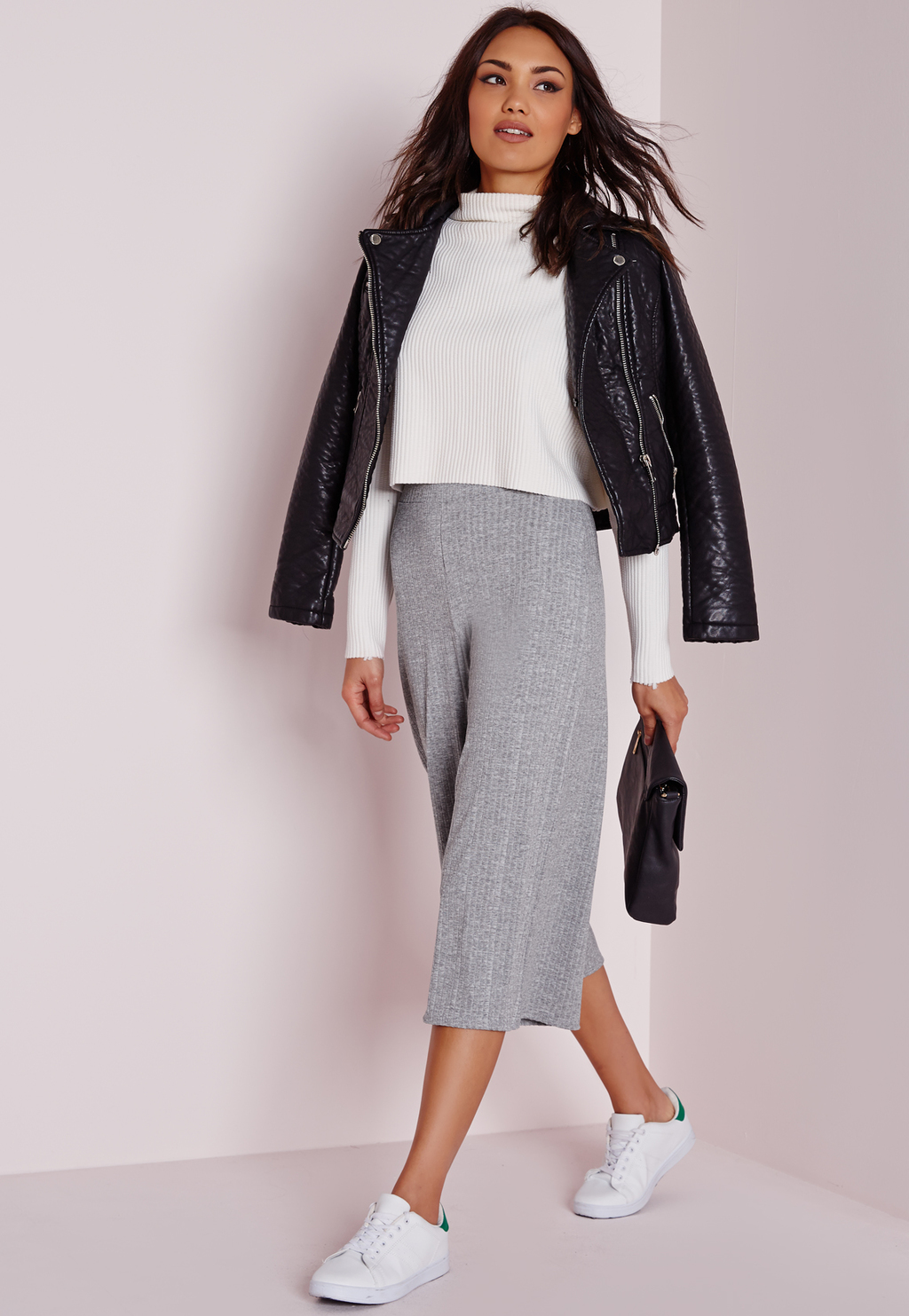Ribbed Culottes Grey, Grey - pattern: plain; pocket detail: pockets at the sides; waist: mid/regular rise; predominant colour: light grey; occasions: casual, creative work; fibres: polyester/polyamide - stretch; pattern type: fabric; texture group: other - light to midweight; season: a/w 2015; style: culotte; length: below the knee; fit: a-line