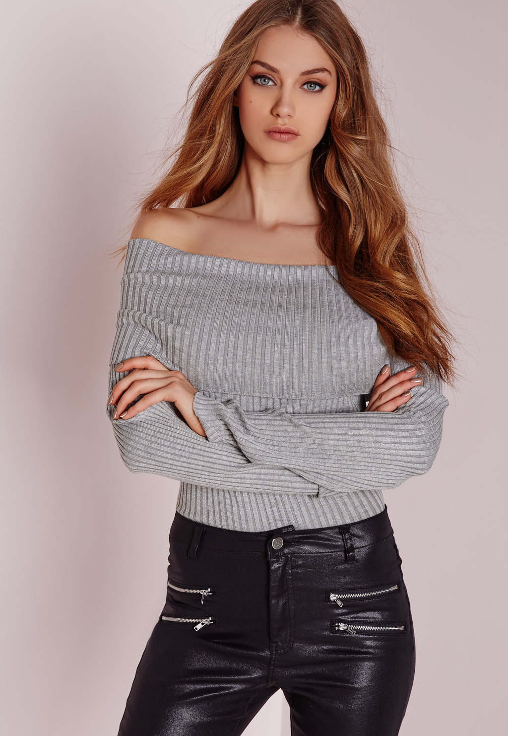 Bardot Ribbed Bodysuit Grey, Grey - neckline: off the shoulder; pattern: plain; predominant colour: light grey; occasions: casual; length: standard; style: top; fibres: viscose/rayon - stretch; fit: tight; sleeve length: long sleeve; sleeve style: standard; texture group: jersey - clingy; pattern type: fabric; season: a/w 2015