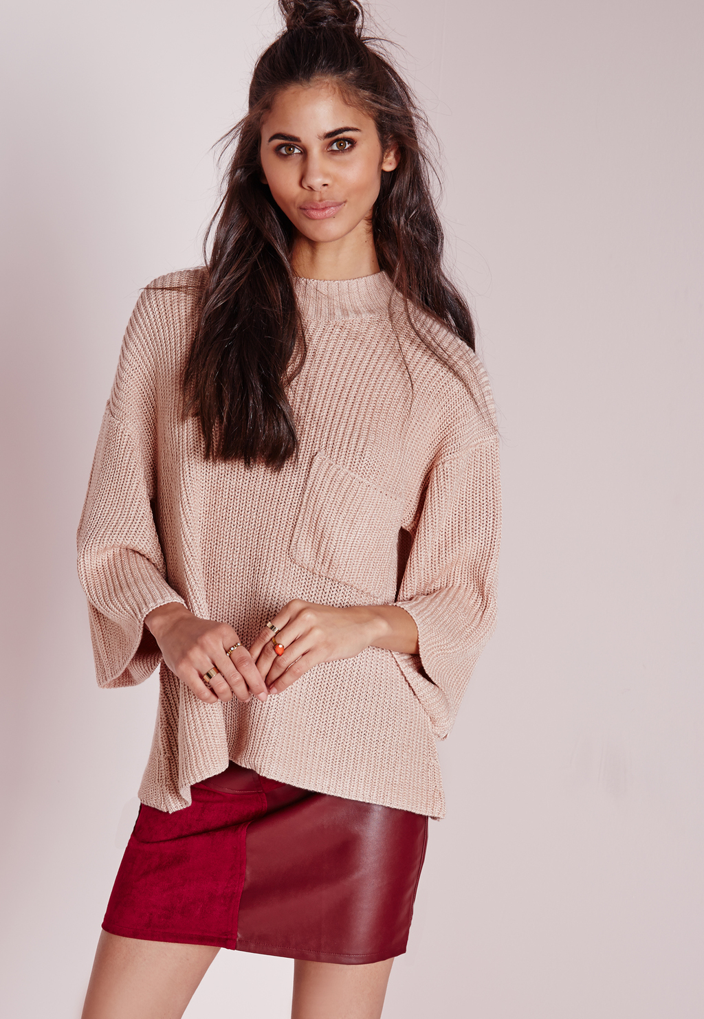 Petite Pocket Detail Boxy Jumper Nude, Beige - pattern: plain; length: below the bottom; style: tunic; predominant colour: blush; occasions: casual, creative work; fibres: acrylic - 100%; fit: loose; neckline: crew; sleeve length: 3/4 length; sleeve style: standard; texture group: knits/crochet; pattern type: knitted - fine stitch; season: a/w 2015; wardrobe: basic