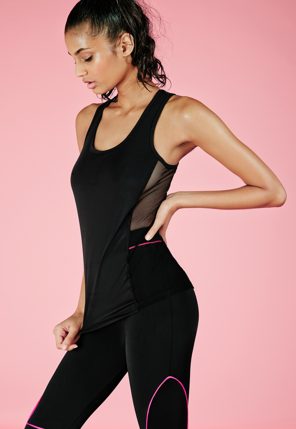 Active Side Mesh Detail Gym Vest Black, Black - neckline: round neck; sleeve style: standard vest straps/shoulder straps; pattern: plain; style: vest top; predominant colour: black; occasions: casual, holiday; length: standard; fibres: polyester/polyamide - stretch; fit: tight; sleeve length: sleeveless; pattern type: knitted - fine stitch; texture group: jersey - stretchy/drapey; season: a/w 2015; wardrobe: basic