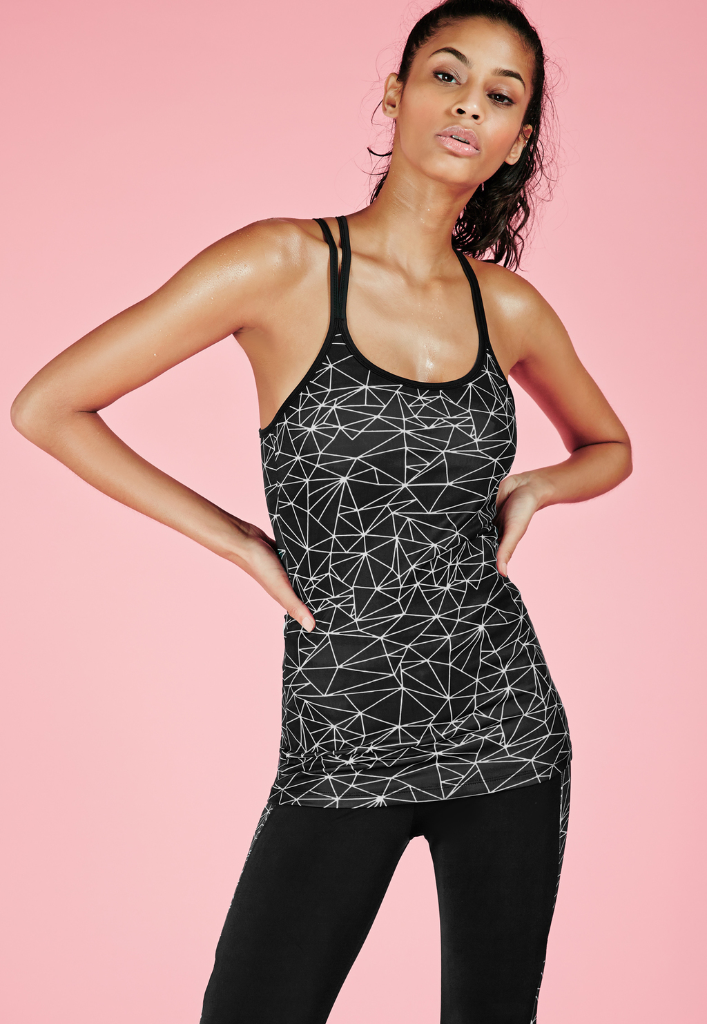 Active Monochrome Print Racer Back Gym Vest Black, Black - sleeve style: spaghetti straps; style: vest top; predominant colour: black; occasions: casual, activity; length: standard; neckline: scoop; fibres: polyester/polyamide - stretch; fit: body skimming; sleeve length: sleeveless; trends: monochrome; pattern type: fabric; pattern: patterned/print; texture group: jersey - stretchy/drapey; pattern size: big & busy (top); season: a/w 2015