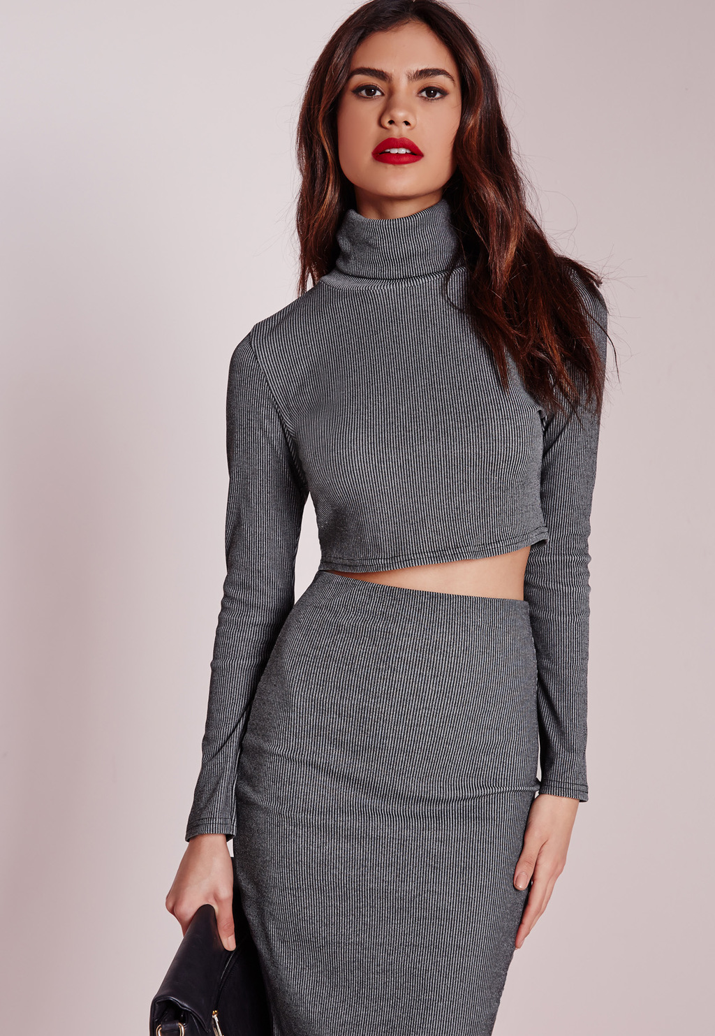 Petite High Neck Long Sleeve Ribbed Crop Top Grey, Grey - pattern: plain; neckline: high neck; length: cropped; predominant colour: mid grey; occasions: casual, evening; style: top; fibres: polyester/polyamide - stretch; fit: tight; sleeve length: long sleeve; sleeve style: standard; pattern type: fabric; texture group: jersey - stretchy/drapey; season: a/w 2015; wardrobe: basic