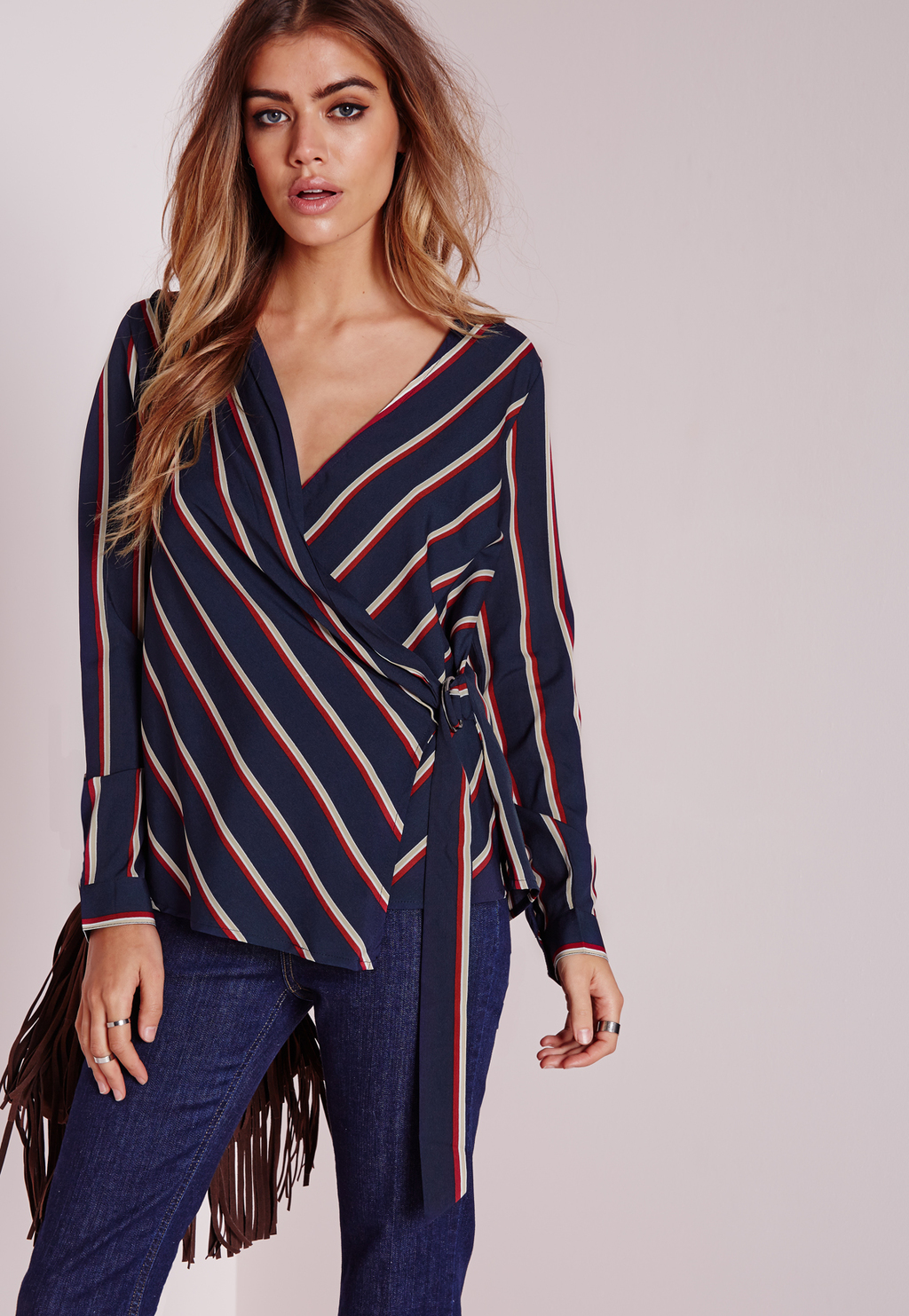 Tall Striped D Ring Detail Blouse Navy, Blue - neckline: low v-neck; sleeve style: dolman/batwing; pattern: striped; length: below the bottom; style: blouse; waist detail: belted waist/tie at waist/drawstring; predominant colour: navy; occasions: casual, creative work; fibres: polyester/polyamide - 100%; fit: loose; sleeve length: long sleeve; pattern type: fabric; texture group: other - light to midweight; pattern size: big & busy (top); multicoloured: multicoloured; season: a/w 2015; wardrobe: highlight