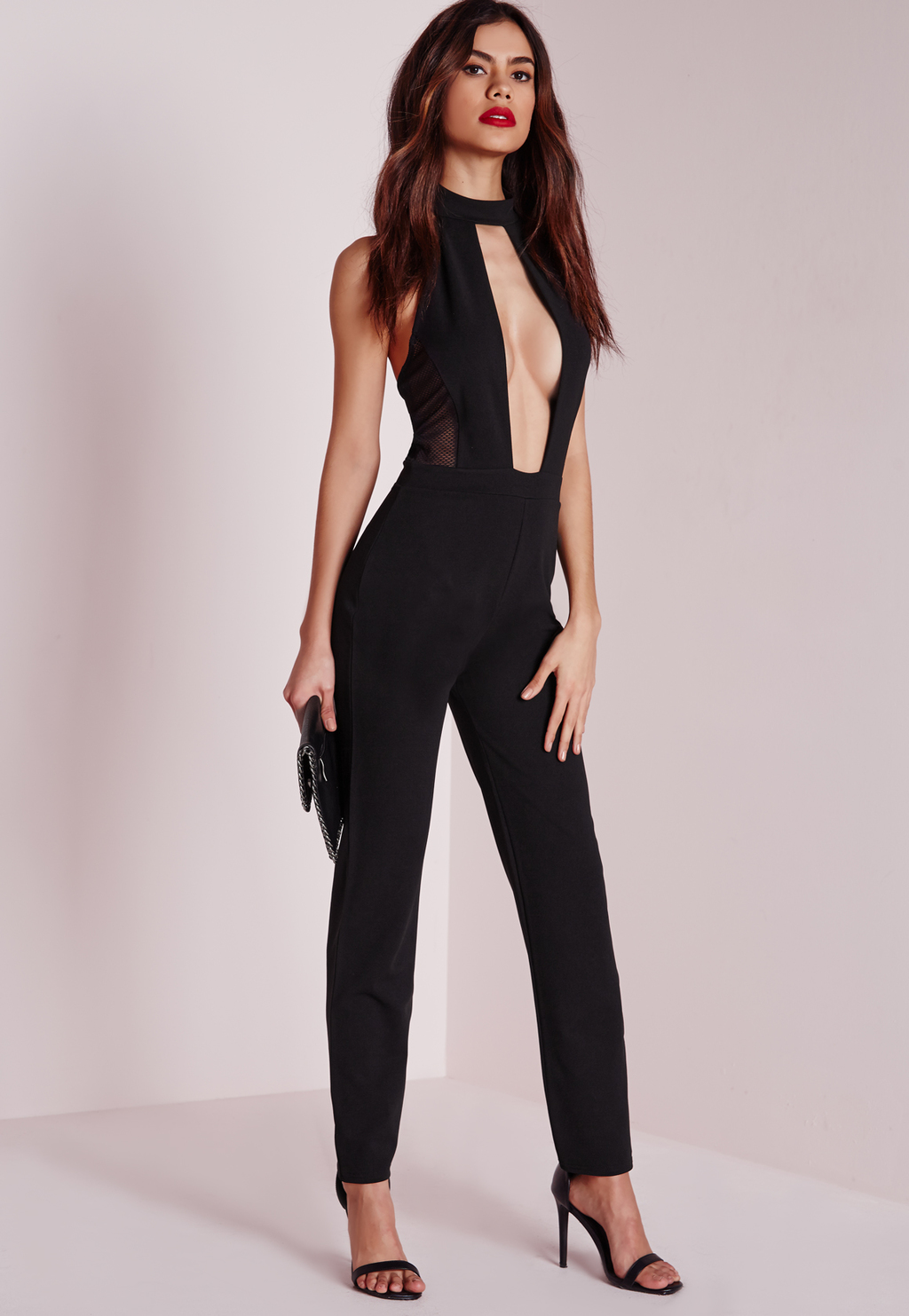 Mesh Extreme Plunge Jumpsuit Black, Black - length: standard; neckline: plunge; fit: tailored/fitted; pattern: plain; sleeve style: sleeveless; waist detail: fitted waist; predominant colour: black; occasions: evening; fibres: polyester/polyamide - stretch; sleeve length: sleeveless; texture group: crepes; style: jumpsuit; pattern type: fabric; season: a/w 2015; wardrobe: event