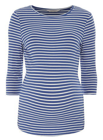 Womens **Maternity Ivory And Blue Stripe Top Ivory - pattern: horizontal stripes; style: t-shirt; secondary colour: white; predominant colour: navy; occasions: casual; length: standard; fibres: cotton - stretch; fit: body skimming; neckline: crew; sleeve length: 3/4 length; sleeve style: standard; texture group: jersey - clingy; pattern type: fabric; pattern size: standard; season: a/w 2015; wardrobe: basic