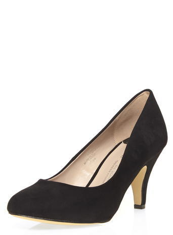 Womens Wide Fit 'wilamina' Black Court Shoes Black - predominant colour: black; occasions: work; material: fabric; heel height: mid; heel: cone; toe: pointed toe; style: courts; finish: plain; pattern: plain; season: a/w 2015; wardrobe: investment