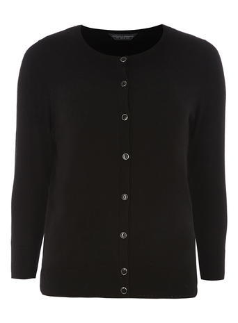 Womens **Tall Black Cotton Cardigan Black - neckline: round neck; pattern: plain; predominant colour: black; occasions: casual, creative work; length: standard; style: standard; fibres: cotton - 100%; fit: standard fit; sleeve length: long sleeve; sleeve style: standard; texture group: knits/crochet; pattern type: knitted - fine stitch; season: a/w 2015; wardrobe: basic