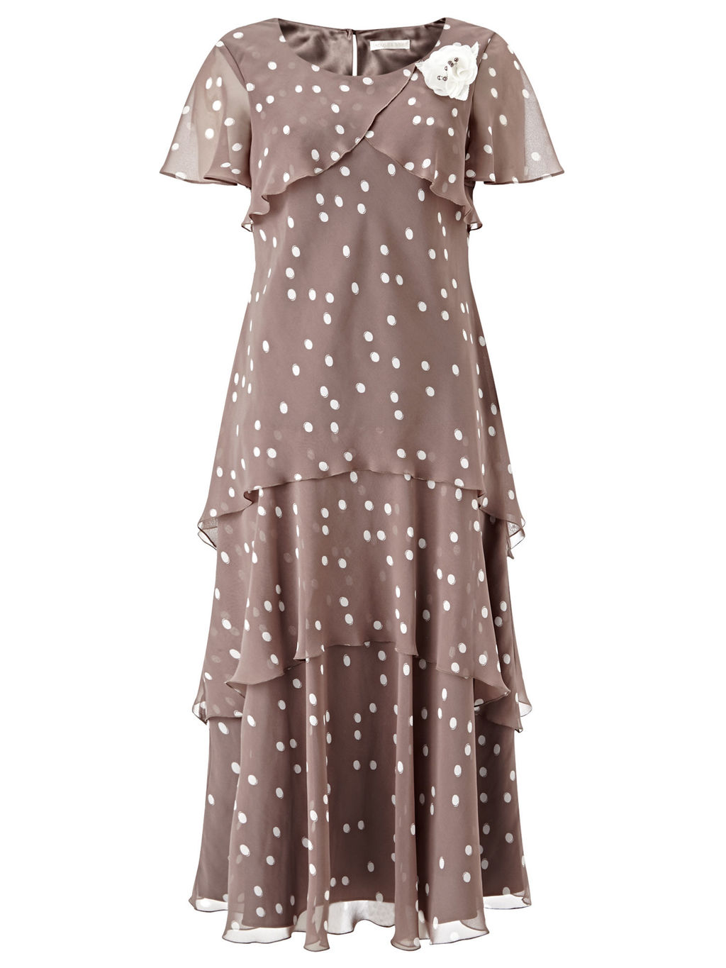 Brushstroke Spot Dress - style: a-line; length: calf length; neckline: round neck; sleeve style: angel/waterfall; pattern: polka dot; secondary colour: ivory/cream; predominant colour: taupe; fit: soft a-line; fibres: polyester/polyamide - 100%; occasions: occasion; hip detail: adds bulk at the hips; sleeve length: short sleeve; texture group: sheer fabrics/chiffon/organza etc.; bust detail: bulky details at bust; pattern type: fabric; pattern size: standard; embellishment: corsage; season: s/s 2016; wardrobe: event