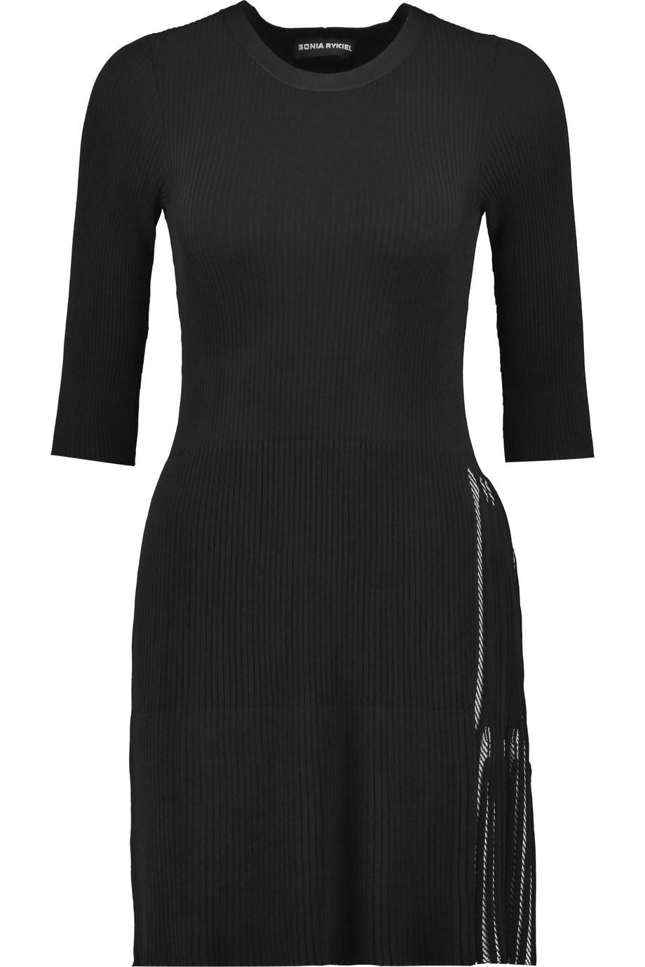 Ribbed Knit Mini Dress Black - length: mini; fit: tight; pattern: plain; style: bodycon; hip detail: draws attention to hips; predominant colour: black; occasions: evening; fibres: wool - mix; neckline: crew; sleeve length: 3/4 length; sleeve style: standard; texture group: knits/crochet; pattern type: knitted - fine stitch; season: a/w 2015; wardrobe: event