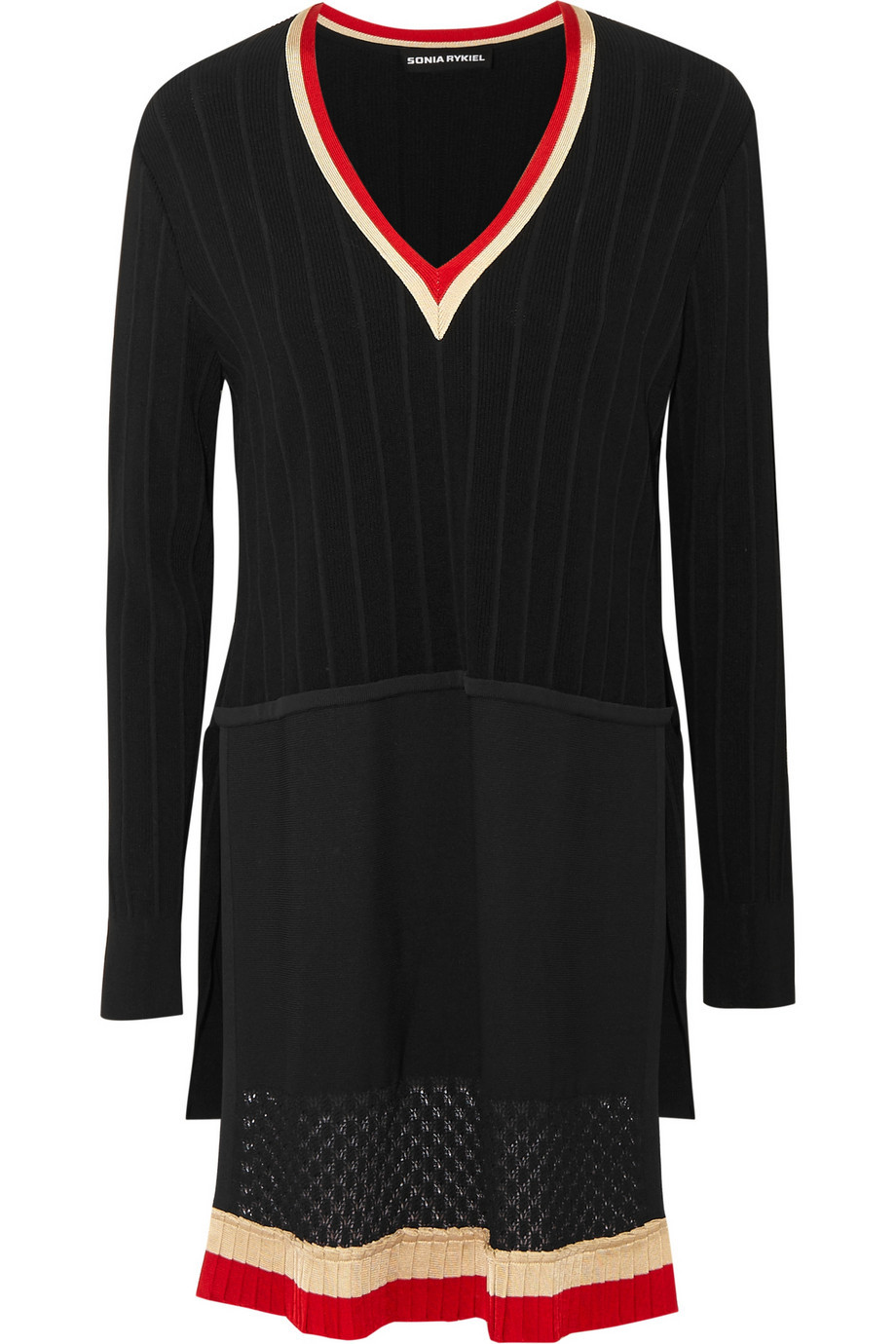 Ribbed Knit Sweater Tunic Black - neckline: low v-neck; pattern: plain; style: tunic; predominant colour: black; occasions: casual, creative work; fit: standard fit; length: mid thigh; hip detail: contrast fabric/print detail at hip; sleeve length: long sleeve; sleeve style: standard; texture group: knits/crochet; pattern type: knitted - fine stitch; fibres: viscose/rayon - mix; multicoloured: multicoloured; season: a/w 2015; wardrobe: highlight