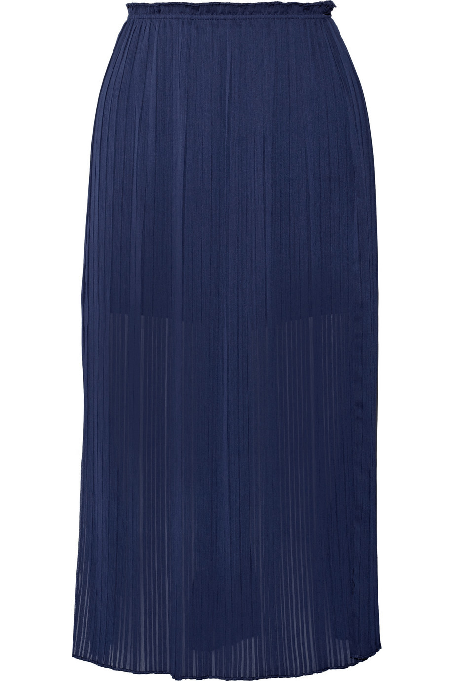 Steele Pleated Chiffon Skirt Storm Blue - pattern: plain; style: straight; waist: high rise; predominant colour: navy; length: just above the knee; fibres: polyester/polyamide - stretch; texture group: sheer fabrics/chiffon/organza etc.; fit: straight cut; pattern type: fabric; occasions: creative work; season: a/w 2015; wardrobe: basic