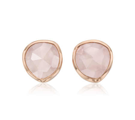 Rose Gold Vermeil Siren Stud Earrings Rose Quartz - secondary colour: blush; predominant colour: gold; occasions: evening; style: stud; length: short; size: small/fine; material: chain/metal; fastening: pierced; finish: metallic; embellishment: jewels/stone; season: a/w 2015; wardrobe: event