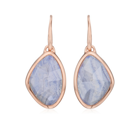 Rose Gold Siren Teardrop Earrings Blue Lace Agate - predominant colour: pale blue; secondary colour: gold; occasions: evening, occasion; style: drop; length: mid; size: standard; material: chain/metal; fastening: pierced; finish: metallic; embellishment: beading; season: a/w 2015; wardrobe: event