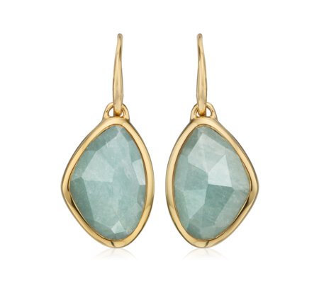 Gold Vermeil Siren Teardrop Earrings Aquamarine - predominant colour: turquoise; secondary colour: gold; occasions: evening, occasion; style: drop; length: mid; size: standard; material: chain/metal; fastening: pierced; finish: metallic; embellishment: jewels/stone; season: a/w 2015; wardrobe: event